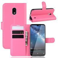 Litchi PU kožené peněženkové puzdro na mobil Nokia 2.2 - rose