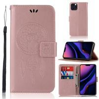 Dream PU kožené peněženkové puzdro na mobil Apple iPhone 11 Pro 5.8 (2019) - růžovozlaté