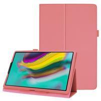Litchi textúrovaný PU kožený obal na tablet Samsung Galaxy Tab A 10.1 (2019) SM-T515 - ružový