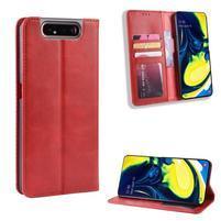 Vintage PU kožené peněženkové puzdro na mobil Samsung Galaxy A80 / A90 - červené