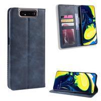 Vintage PU kožené peněženkové puzdro na mobil Samsung Galaxy A80 / A90 - modré