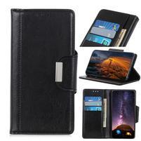 Glossy PU kožené peněženkové puzdro na mobil Samsung Galaxy Note 10 - čierny