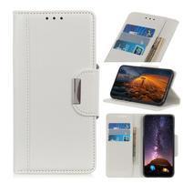 Glossy PU kožené peněženkové puzdro na mobil Samsung Galaxy Note 10 - biely
