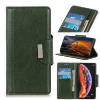 Glossy PU kožené peněženkové puzdro na mobil Samsung Galaxy Note 10 - zelený