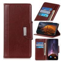 Glossy PU kožené peněženkové puzdro na mobil Samsung Galaxy Note 10 - hnedý