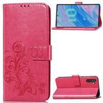 Imprinted PU kožené peněženkové puzdro na mobil Samsung Galaxy Note 10 - rose
