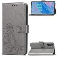 Imprinted PU kožené peněženkové puzdro na mobil Samsung Galaxy Note 10 - šedý