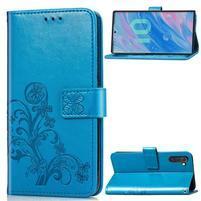 Imprinted PU kožené peněženkové puzdro na mobil Samsung Galaxy Note 10 - modrý