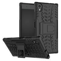 Kickstand odolný hybridný obal na mobil Sony Xperia XA1 Plus - čierny