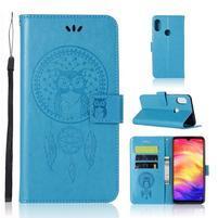 Imprint PU kožené peněženkové puzdro na mobil Xiaomi Redmi 7 - modrý
