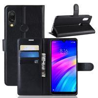 Litchi PU kožené peněženkové puzdro na mobil Xiaomi Redmi 7 - čierny