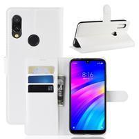 Litchi PU kožené peněženkové puzdro na mobil Xiaomi Redmi 7 - biely