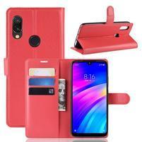 Litchi PU kožené peněženkové puzdro na mobil Xiaomi Redmi 7 - červený
