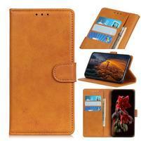 Matte PU kožené peněženkové puzdro na mobil Xiaomi Mi CC9 - hnedé