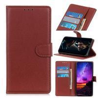 Litchi PU kožené peněženkové puzdro na mobil Xiaomi Mi CC9 - hnedé