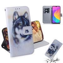 Printy PU kožené peněženkové puzdro na mobil Xiaomi Mi CC9 - čierny a biely vlk