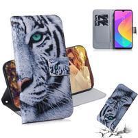 Printy PU kožené peněženkové puzdro na mobil Xiaomi Mi CC9 - tiger