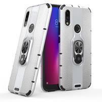 Kickstand hybridný odolný obal na mobil Xiaomi Redmi 7 - strieborný