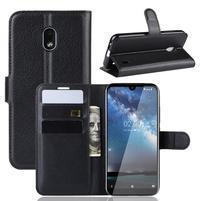 Litchi PU kožené peněženkové puzdro na mobil Nokia 2.2 - čierne