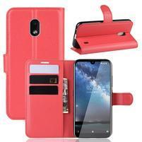 Litchi PU kožené peněženkové puzdro na mobil Nokia 2.2 - červené