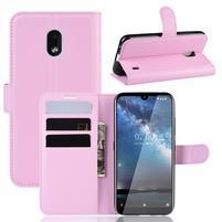 Litchi PU kožené peněženkové puzdro na mobil Nokia 2.2 - ružové