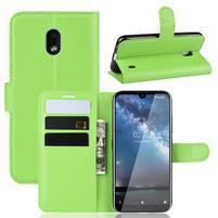 Litchi PU kožené peněženkové puzdro na mobil Nokia 2.2 - zelené