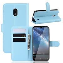 Litchi PU kožené peněženkové puzdro na mobil Nokia 2.2 - modré