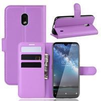 Litchi PU kožené peněženkové puzdro na mobil Nokia 2.2 - fialové