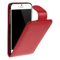 Kožené flipové puzdro pre iPhone 6, 4.7 - červené