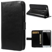 Peňaženkové kožené puzdro na iPhone 6, 4.7 - čierné
