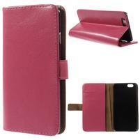 Peňaženkové kožené puzdro pre iPhone 6, 4.7 - ružové
