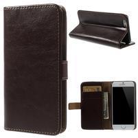 Peňaženkové kožené puzdro na iPhone 6, 4.7 - hnedé