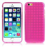 Gélové kostkované puzdro pre iPhone 6, 4.7 - ružové
