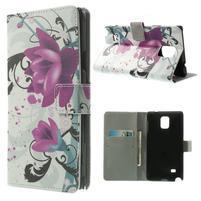 Peňaženkové puzdro pre Samsung Galaxy Note 4- fialový kvet