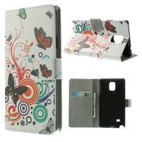 Peňaženkové puzdro na Samsung Galaxy Note 4- barevní motýlci
