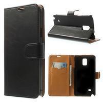 Peňaženkové kožené puzdro na Samsung Galaxy Note 4- čierné
