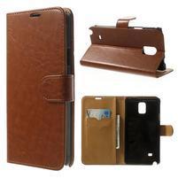 Peňaženkové kožené puzdro na Samsung Galaxy Note 4- hnedé