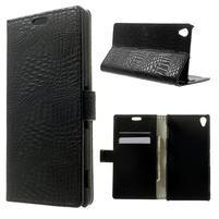 Peňaženkové PU kožené puzdro pre Sony Xperia Z3 D6603 - čierne
