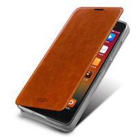 Flipové kožené puzdro na Xiaomi Mi4- hnedé