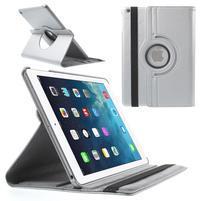 PU kožené rotačné puzdro na iPad Air - strieborné