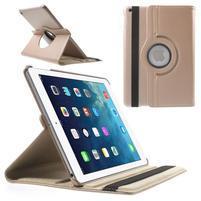 PU kožené rotačné puzdro na iPad Air - Rosegold