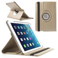 PU kožené rotačné puzdro na iPad Air - zlaté