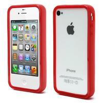 Bumper style gélový rámček na iPhone 4 a iPhone 4s - červený