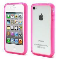 Bumper style gélový rámček na iPhone 4 a iPhone 4s - rose