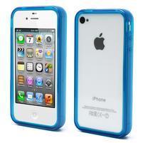 Bumper style gélový rámček na iPhone 4 a iPhone 4s - modrý