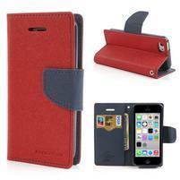 Diary PU kožené puzdro na iPhone 5C - červené