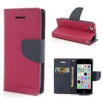 Diary PU kožené puzdro na iPhone 5C - rose