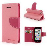 Diary PU kožené puzdro na iPhone 5C - ružové