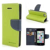 Diary PU kožené puzdro na iPhone 5C - zelené