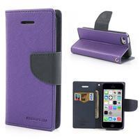Diary PU kožené puzdro na iPhone 5C - fialové